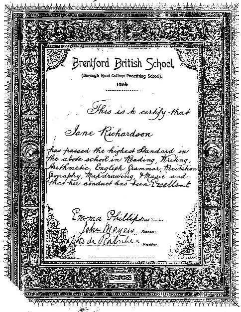 Brentford British School Certificate 1894