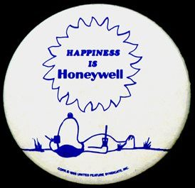 Honeywell badge incorporating Snoopy, design by Charles.M.Schultz